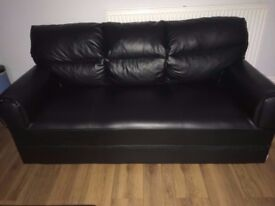 Black Leather Sofas, second hand, 3 seater, 2 seater, armchair