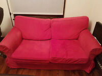 [FREE] Comfy pre-loved red sofa to brighten up your boring living room. ¯\_(ツ)_/¯