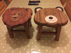 Two Childrens Wooden Stools