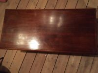 Antique coffee table, solid oak, very old & beautiful patina