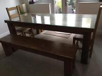 Chunky rustic reclaimed wood dining table and chairs