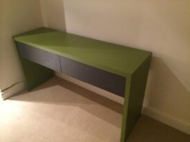 Stylish green/grey solid wood table with 2 deep drawers