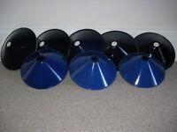 """Antique blue enamelled """"coolie hat"""" lampshades"""
