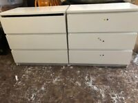 WHITE SOLID WOODEN CHEST DRAWERS SET OF 2 used