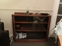 Glass and wood bookcase