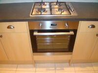 STAINLESS STEEL GAS HOB MATCHING ELECTRIC OVEN AND EXTRACTOR FAN