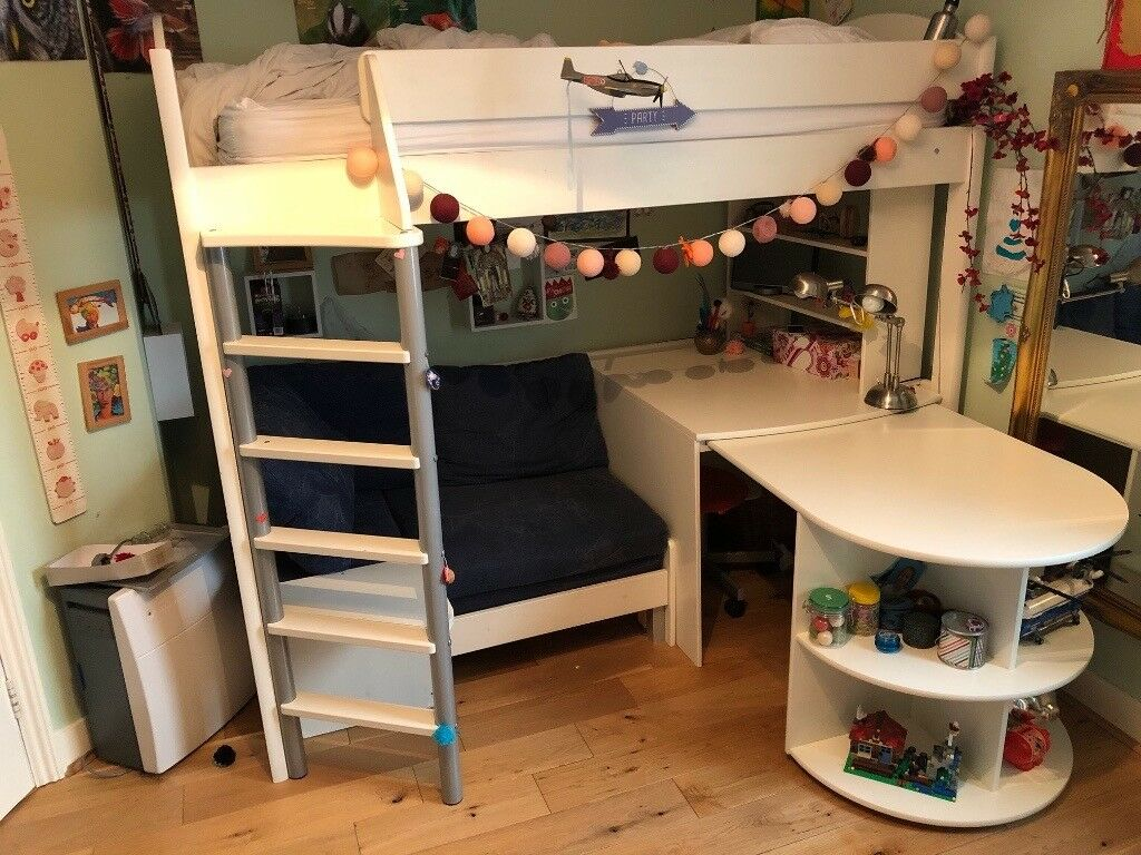 High Sleeper With Roll Out Desk And Sitting Area Pull Bed