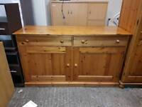 Solid pine side board with drawers and storage