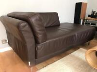 Habitat natural brown leather chaise lounge
