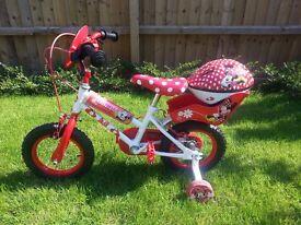 "Disney Minnie Mouse Kids' Bike - 12"" and Disney Minnie Mouse Kids Bike Helmet (50-54cm)"