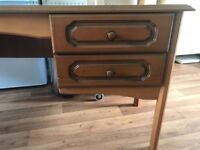 Solid wood dressing table with four drawers. Matching stool and free standing mirror.,