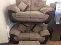 Beige JUMBO CORD + Brown Suede Effect SUITE (2 + 2 Seater Sofas + Footstool) + FREE LOCAL DELIVERY