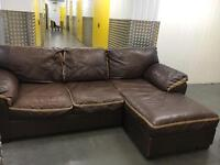 Genuine leather L shape solid sofa •free delivery