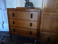 Vintage Solid Oak Chest of 3 Drawers, Beautiful Design