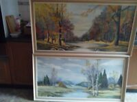 "pair of scenery oil paintings on hard board, wooden frames, about 60 yrs old, size 52""x28"""