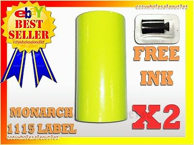 2sleeves Fluorescent Yellow Label For Monarch 1115 Pricing Gun 2sleeves20rolls.