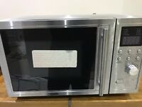 DeLonge Microwave Oven with Grill, Stainless Steel