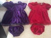 2 x velvet dresses £3 each, £5 both