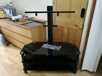 AS NEW Black Glass and Metal TV Stand with Bracket Mount