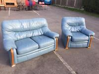 Blue leather settee n chair