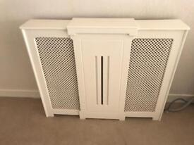 Radiator Cover White Painted Wooden Expanding Medium - Large Adjustable Heating Cabinet