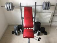 York Barbell, Dumbbells, Weight Bench with 100kg of weights