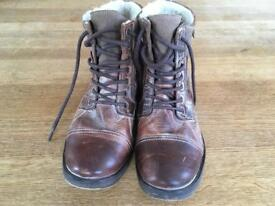 Dune Men's Brown Warm Lined Chukka Boots Size 10
