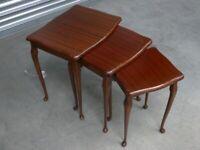 Set of 3 vintage wood stack tables small - medium
