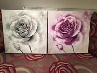 Pair Canvas Rose Paintings - FREE LOCAL DELIVERY
