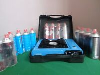 PORTABLE CAMPING STOVE PLUS 14 CANS OF GAS BRAND NEW