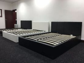 BRAND NEW DOUBLE/KING LEATHER BED WITH STORAGE AND MATTRESS IN BROWN BLACK AND WHITE COLOUR