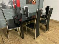 HARVEYS BLACK GLASS DINING TABLE + 6 CHAIRS