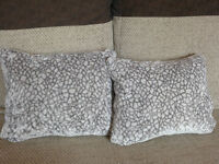 Grey Small Plush Scatter Cushions With Duck Feather Filling approx 40cm x 30cm Made in UK