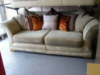 3 Seater Sofa Settee with Loose Scatter Back Cushions in Light Moss Green Excellent Condition