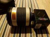 Samyang 500mm Mirror F6.3 T Mount Manual Focus Lens and X2 teleconverter