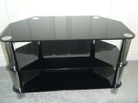 TV STAND - 80cms width - 3 black glass shelves
