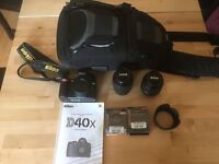 Nikon D40X, 18-55mm and 55-200mm NIkkor Lenses, filters and camera bag