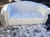 Chesterfield ivory white sofa