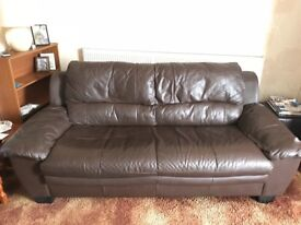 3 seater & 2 seater brown faux leather sofas