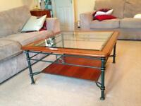 Coffee table in cherrywood and glass.