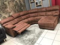 F.V EX DISPLAY Large Corner Sofa & Chaise | Electric Recliner | Brown, Fabric suede | U SHAPE
