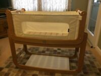 AS NEW SnuzPod 2 bedside 3-in-1 crib in Natural colour with extras - £110