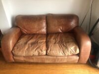 Brown leather settee, chair & pouffe
