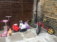 Various cars push bikes, scooters and other toys for sale
