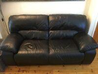 3 Seater & 2 Seater Black Leather Sofa.