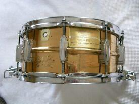 "Ludwig 75th Anniversary seamless bronze Supersensitive snare drum 14 x 6 1/2"" - USA-1984- rare item"