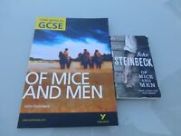 John Steinbeck Of Mice and Men book and York notes for GCSE