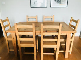 Pine table and 6 chairs (& coffee table)