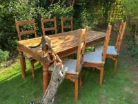 Rustic Wood Kitchen/Dining Table and Chair Set