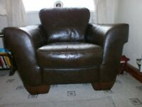 Genuine Italian leather import three piece suite and foot stool